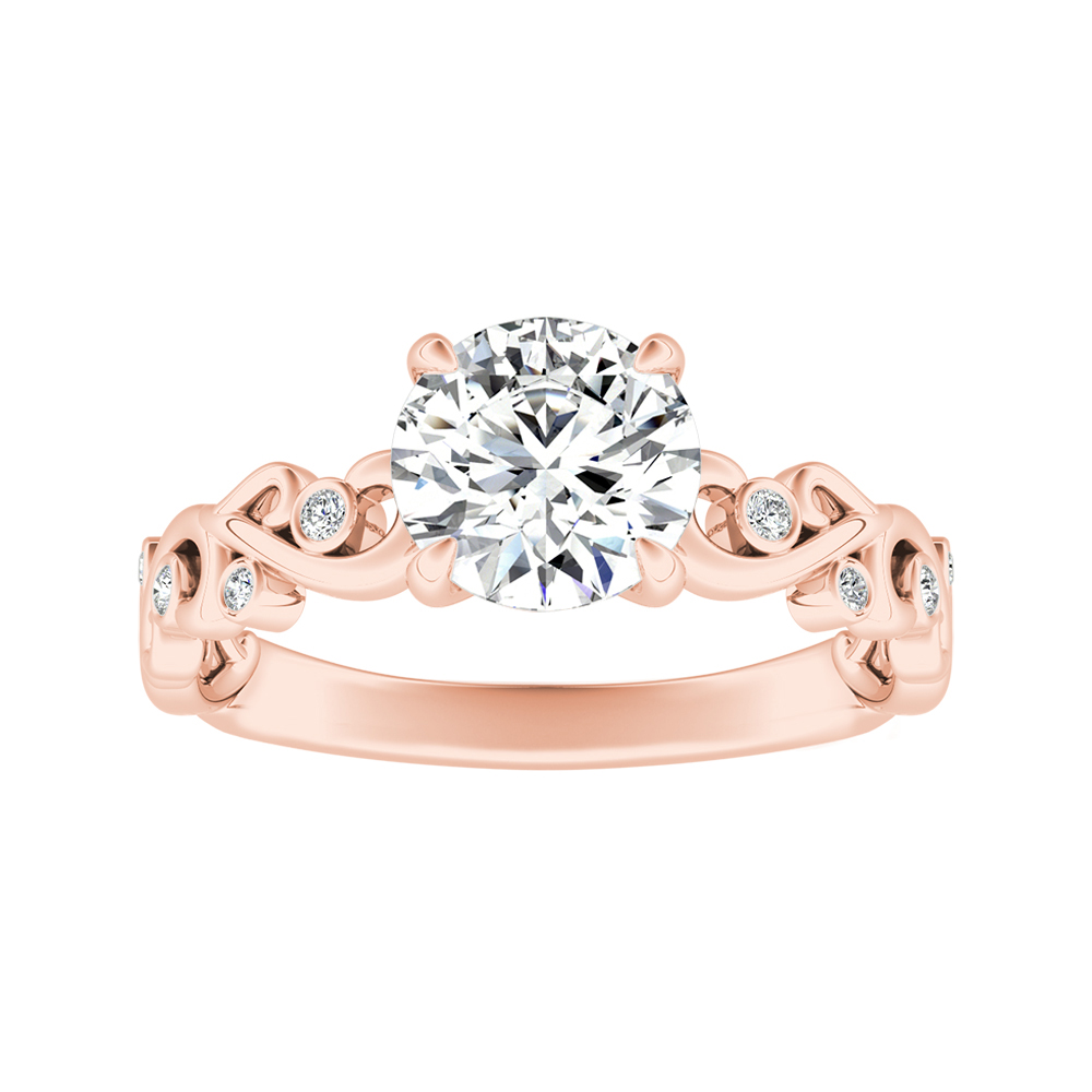 DAISY Moissanite Engagement Ring In 14K Rose Gold With 0.50 Carat Round Stone