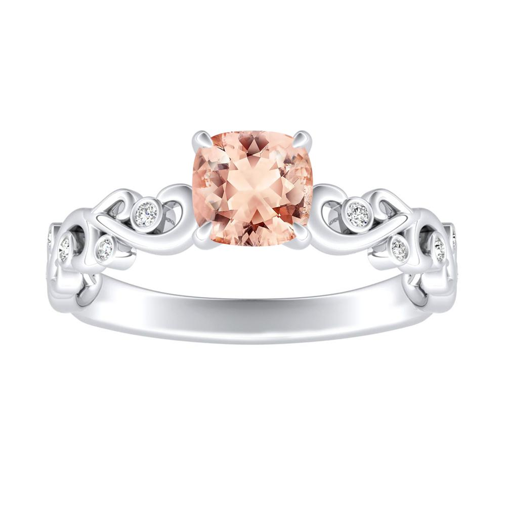 DAISY Morganite Engagement Ring In 14K White Gold With 1.00 Carat Cushion Stone