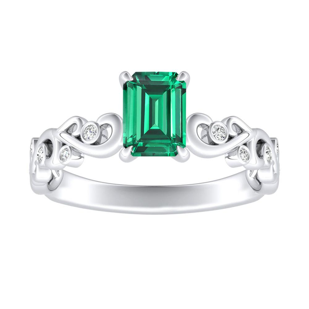 DAISY Green Emerald Engagement Ring In 14K White Gold With 0.50 Carat Emerald Stone