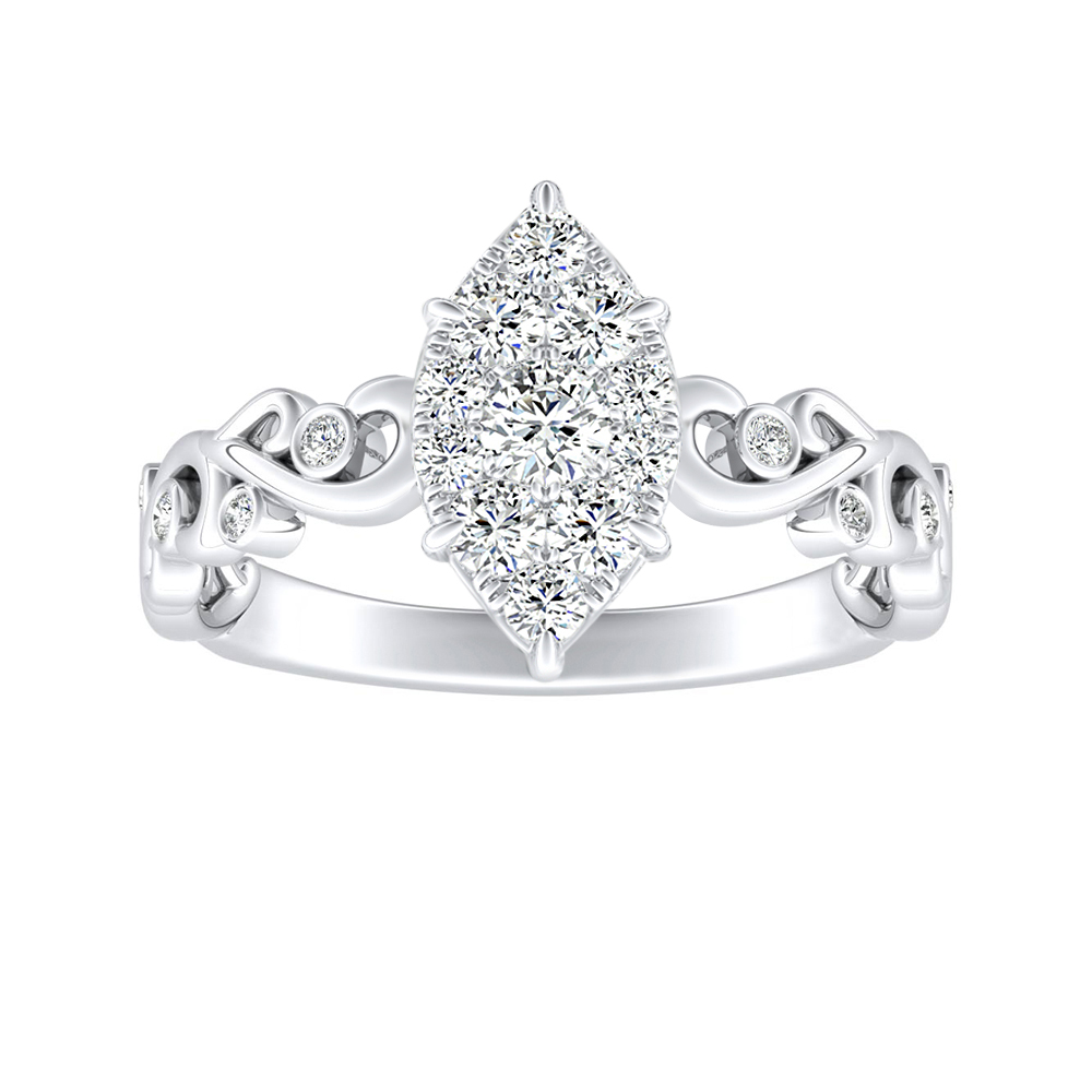DAISY Diamond Engagement Ring In 14K White Gold With Marquise Diamond In H-I SI1-SI2 Quality
