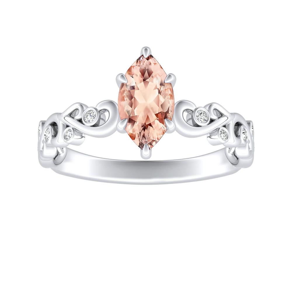 DAISY Morganite Engagement Ring In 14K White Gold With 1.00 Carat Marquise Stone