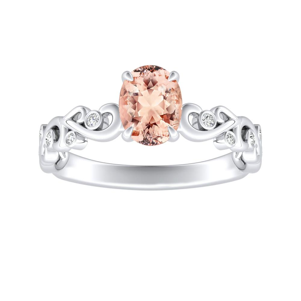 DAISY Morganite Engagement Ring In 14K White Gold With 1.00 Carat Oval Stone