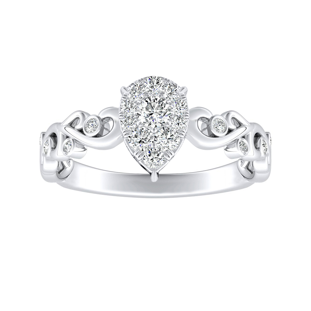 DAISY Diamond Engagement Ring In 14K White Gold With Pear Diamond In H-I SI1-SI2 Quality