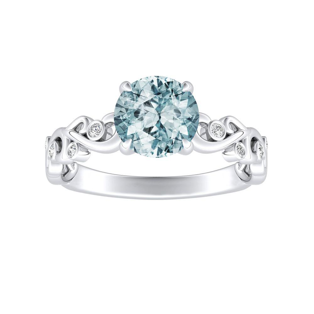 DAISY Aquamarine Engagement Ring In 14K White Gold With 1.00 Carat Round Stone