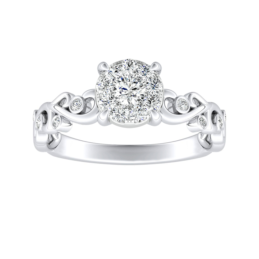 DAISY Diamond Engagement Ring In 14K White Gold With Round Diamond In H-I SI1-SI2 Quality