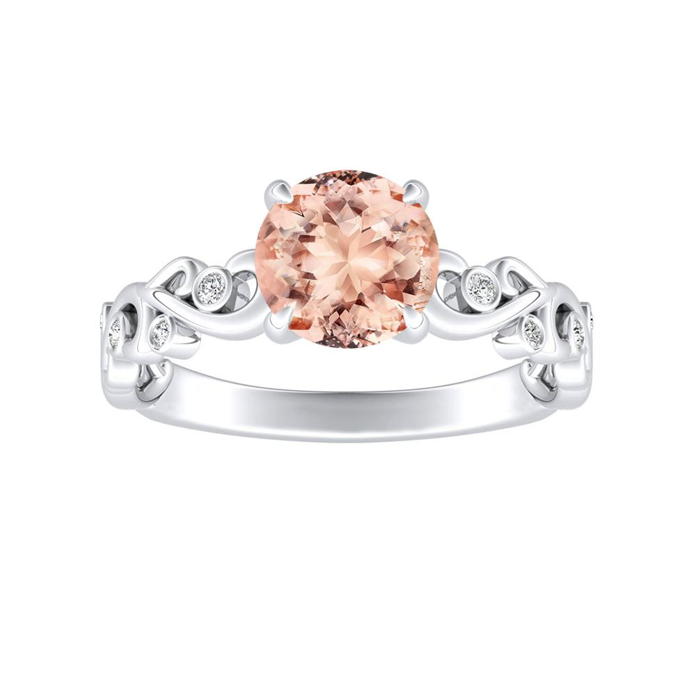 DAISY Morganite Engagement Ring In 14K White Gold With 1.00 Carat Round Stone