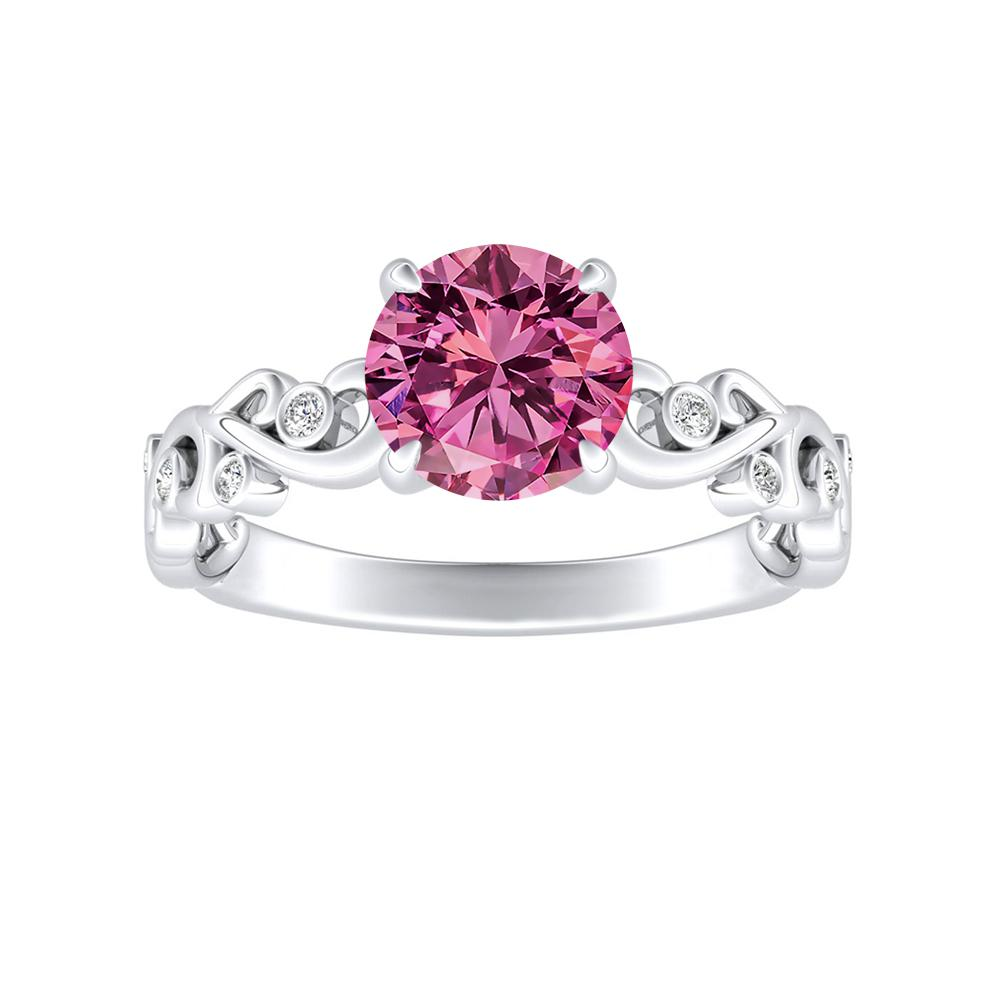 DAISY Pink Sapphire Engagement Ring In 14K White Gold With 0.30 Carat Round Stone