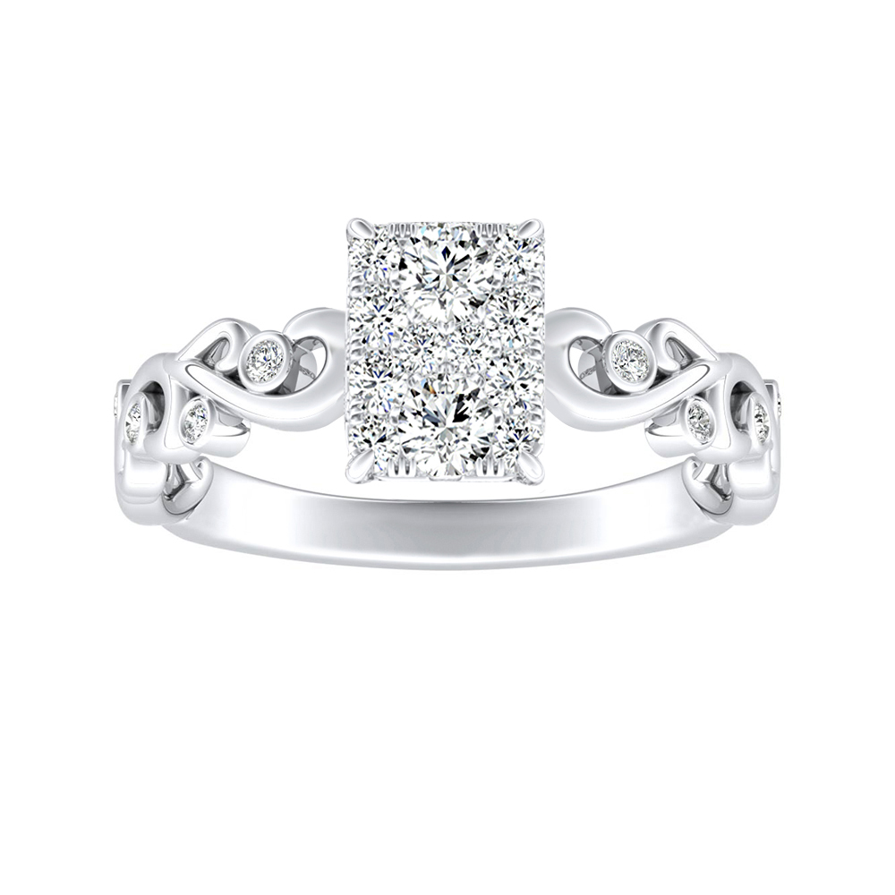 DAISY Diamond Engagement Ring In 14K White Gold With Radiant Diamond In H-I SI1-SI2 Quality
