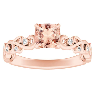DAISY Morganite Engagement Ring In 14K Rose Gold With 1.00 Carat Cushion Stone
