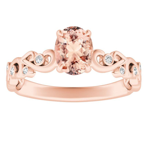 DAISY Morganite Engagement Ring In 14K Rose Gold With 1.00 Carat Oval Stone