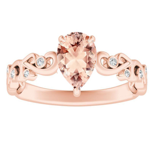 DAISY  Morganite  Engagement  Ring  In  14K  Rose  Gold  With  1.00  Carat  Pear  Stone