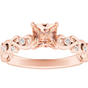 DAISY  Morganite  Engagement  Ring  In  14K  Rose  Gold  With  1.00  Carat  Princess  Stone