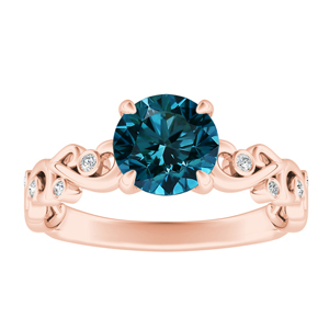 DAISY  Blue  Diamond  Engagement  Ring  In  14K  Rose  Gold  With  0.50  Carat  Round  Diamond