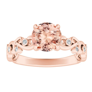 DAISY  Morganite  Engagement  Ring  In  14K  Rose  Gold  With  1.00  Carat  Round  Stone