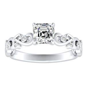 DAISY Diamond Engagement Ring In 14K White Gold With 3.00ct. Asscher Diamond