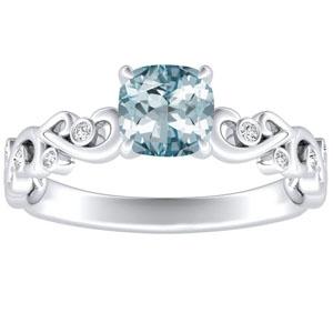 DAISY  Aquamarine  Engagement  Ring  In  14K  White  Gold  With  1.00  Carat  Cushion  Stone