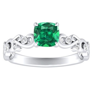 DAISY  Green  Emerald  Engagement  Ring  In  14K  White  Gold  With  0.50  Carat  Cushion  Stone