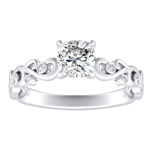 DAISY Diamond Engagement Ring In 14K White Gold With 3.00ct. Cushion Diamond