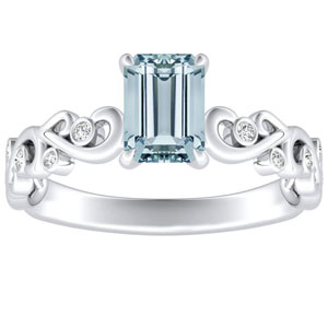 DAISY  Aquamarine  Engagement  Ring  In  14K  White  Gold  With  1.00  Carat  Emerald  Stone