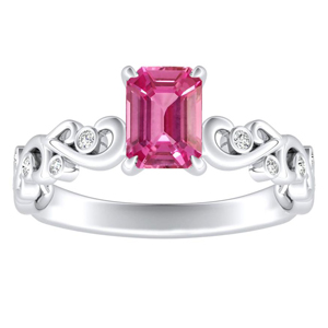 DAISY  Pink  Sapphire  Engagement  Ring  In  14K  White  Gold  With  0.50  Carat  Emerald  Stone