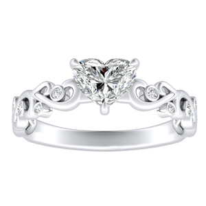 DAISY Diamond Engagement Ring In 14K White Gold With 1.00ct. Heart Diamond