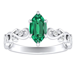 DAISY  Green  Emerald  Engagement  Ring  In  14K  White  Gold  With  0.50  Carat  Marquise  Stone