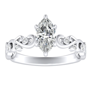 DAISY Diamond Engagement Ring In 14K White Gold With 1.00ct. Marquise Diamond