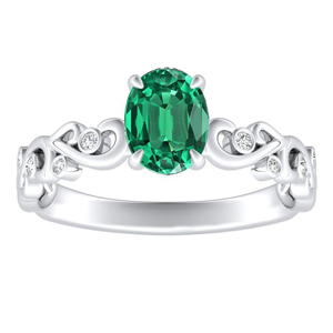 DAISY  Green  Emerald  Engagement  Ring  In  14K  White  Gold  With  0.50  Carat  Oval  Stone