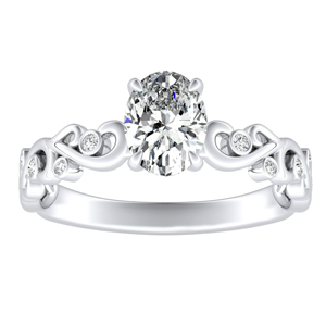 DAISY Diamond Engagement Ring In 14K White Gold With 3.00ct. Oval Diamond