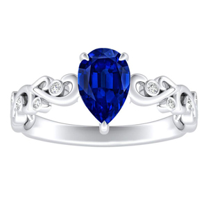 DAISY  Blue  Sapphire  Engagement  Ring  In  14K  White  Gold  With  0.50  Carat  Pear  Stone