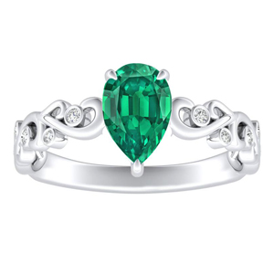 DAISY  Green  Emerald  Engagement  Ring  In  14K  White  Gold  With  0.50  Carat  Pear  Stone