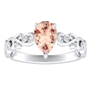DAISY  Morganite  Engagement  Ring  In  14K  White  Gold  With  1.00  Carat  Pear  Stone