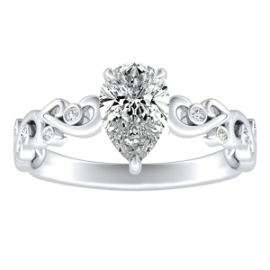 DAISY Diamond Engagement Ring In 14K White Gold With 3.00ct. Pear Diamond