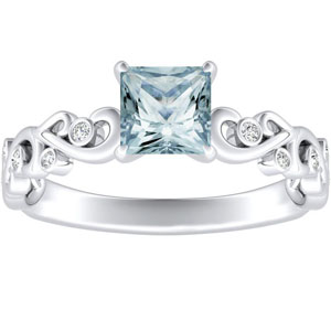 DAISY  Aquamarine  Engagement  Ring  In  14K  White  Gold  With  1.00  Carat  Princess  Stone