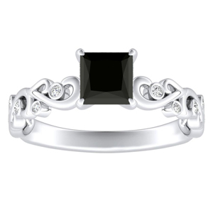 DAISY  Black  Diamond  Engagement  Ring  In  14K  White  Gold  With  1.00  Carat  Princess  Diamond