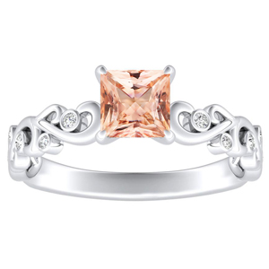 DAISY  Morganite  Engagement  Ring  In  14K  White  Gold  With  1.00  Carat  Princess  Stone