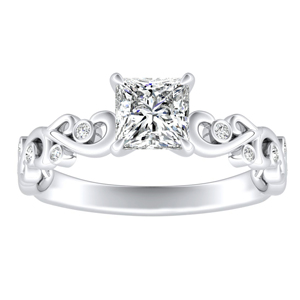 DAISY Diamond Engagement Ring In 14K White Gold With 3.00ct. Princess Diamond
