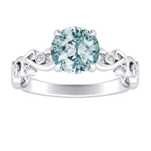 DAISY  Aquamarine  Engagement  Ring  In  14K  White  Gold  With  1.00  Carat  Round  Stone