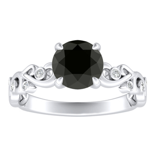 DAISY  Black  Diamond  Engagement  Ring  In  14K  White  Gold  With  1.00  Carat  Round  Diamond