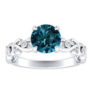 DAISY  Blue  Diamond  Engagement  Ring  In  14K  White  Gold  With  0.50  Carat  Round  Diamond