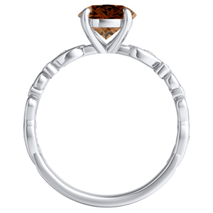 DAISY  Brown  Diamond  Engagement  Ring  In  14K  White  Gold  With  0.50  Carat  Round  Diamond