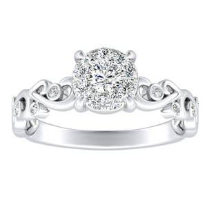 DAISY Diamond Engagement Ring In 14K White Gold With 0.25 Carat Round Diamond In H-I SI1-SI2 Quality