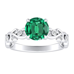 DAISY  Green  Emerald  Engagement  Ring  In  14K  White  Gold  With  0.50  Carat  Round  Stone