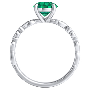 DAISY  Green  Emerald  Wedding  Ring  Set  In  14K  White  Gold  With  0.50  Carat  Round  Stone