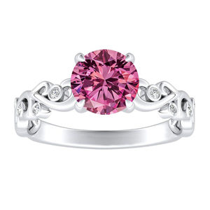 DAISY  Pink  Sapphire  Engagement  Ring  In  14K  White  Gold  With  0.50  Carat  Round  Stone