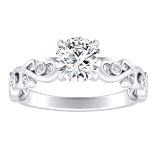 DAISY Moissanite Engagement Ring In 14K White Gold With 0.50 Carat Round Stone