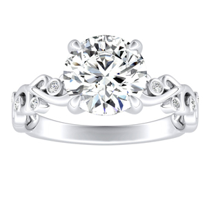 DAISY Diamond Engagement Ring In 14K White Gold With 2.00ct. Round Diamond