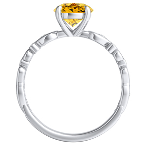 DAISY  Yellow  Diamond  Engagement  Ring  In  14K  White  Gold  With  0.50  Carat  Round  Diamond