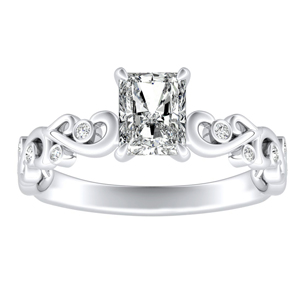 DAISY Diamond Engagement Ring In 14K White Gold With 3.00ct. Radiant Diamond