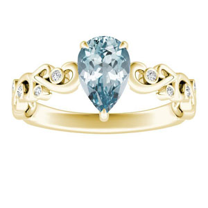DAISY  Aquamarine  Engagement  Ring  In  14K  Yellow  Gold  With  1.00  Carat  Pear  Stone